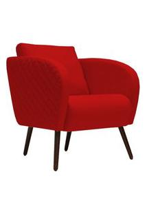 Poltrona Decorativa Para Sala De Estar E Recepçáo Dana D02 Suede Vermelho D-173 - Lyam Decor