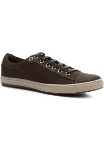 Sapatênis Couro Shoestock Ilhós Masculino - Masculino-Marrom