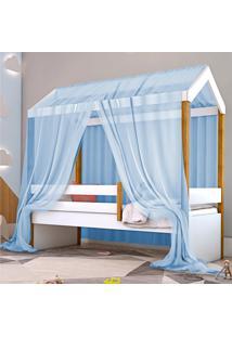 Cama Montessoriana Exclusiv Solteiro Com Voal Azul Casah - Azul - Dafiti