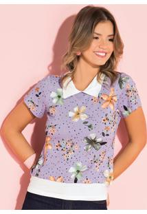 Blusa Floral Lavanda Com Recorte