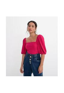 Blusa Cropped Com Mangas Bufantes E Fio Metalizado | A-Collection | Rosa | M