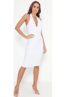 Vestido Frente Única Texturizado - Off White- Lança Lança Perfume