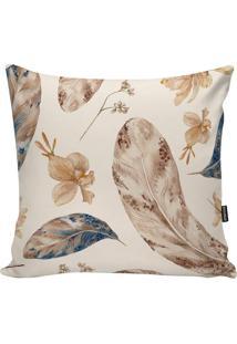 Capa Para Almofada Feathers- Off White & Marrom Claro