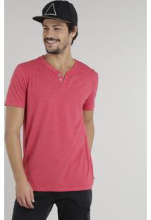 Camiseta Masculina Básica Com Botões Manga Curta Gola Careca Vermelha
