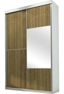Armário Moly 2 Portas Deslizantes (1 Espelhada) E 3 Gavetas, Padrao - Branco Acetinado/Caramelo/Branco Acetinado