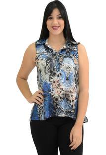 Camisa Moché Estampada - Feminino-Jeans