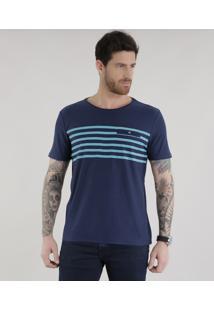 Camiseta Com Listras Azul Marinho