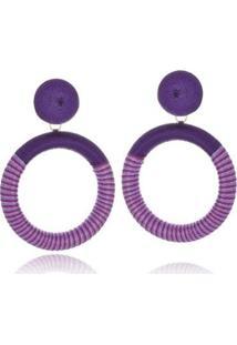 Brinco Argola Le Diamond Fios De Seda Colors - Feminino-Violeta