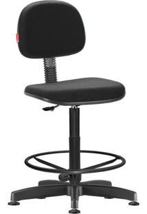 Cadeira Caixa Alta Secretária Giratória Crepe Preta