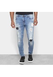 Calça Jeans Skinny Opera Rock Destroyed Estonada Masculina - Masculino-Azul Claro