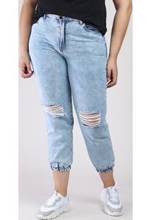 Calça Jeans Feminina Bbb Mom Jogger Cintura Super Alta Com Rasgos Azul Claro
