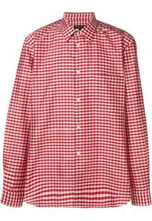 Comme Des Garçons Homme Plus Camisa De Seda Gingham - Vermelho