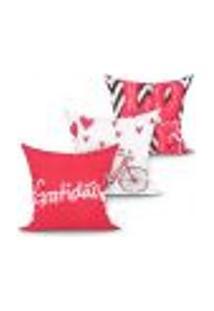 Jogo Capa Almofada Gratidão Vermelha Love Kit Com 3 Unidades 45Cm X 45Cm Com Zíper