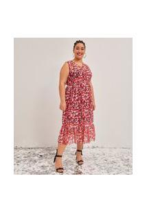 Vestido De Tule Estampado Midi Curve E Plus Size Vermelho