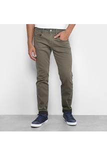 Calça Sarja Replay Skinny Color Anbass Masculina - Masculino-Verde Militar