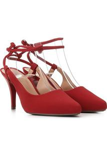 Scarpin Griffe Chanel Salto Fino Amarração Suede - Feminino-Vermelho