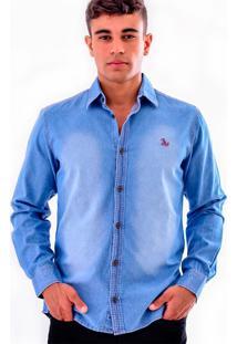 Camisa Jeans Amil - Azul Claro-G