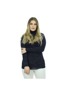 Blusa Tricot Livorno Feminina Lã Shopping Do Tricô Inverno Manga Longa Mesclada Gola Alta Rolê