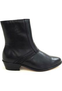 Botina Social Masculina Couro Riber Shoes Ziper Cano Médio - Masculino-Preto