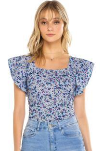 Blusa Azul Floral Canelada