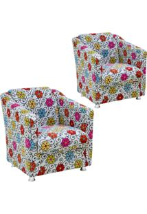 Kit 02 Poltronas Decorativas Lyam Decor Laura Floral Cinza