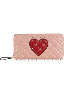 Valentino Carteira Valentino Garavani Rockstud Heart - Rosa
