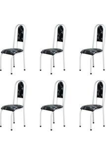 Kit 6 Cadeiras Anatômicas 0.122 Estofada Branco/Preto Floral - Marcheli