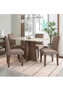 Conjunto De Mesa De Jantar Com Tampo De Vidro E 4 Cadeiras Ana I Veludo Off White E Marrom
