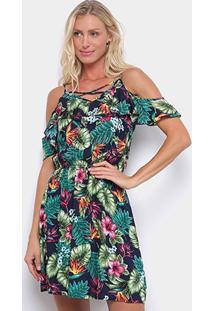 Vestido Curto Pérola Evasê Open Shoulder Tropical - Feminino-Azul+Verde