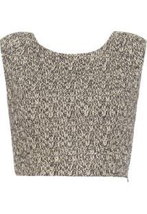 Top Cropped Tweed Iorane – Dourado