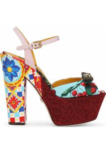 Dolce & Gabbana Sandália Com Mix De Estampas - Vermelho