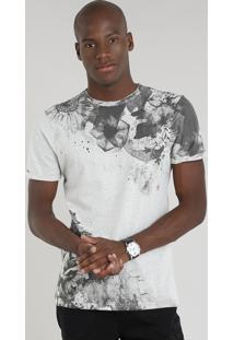 Camiseta Masculina Slim Fit Com Estampa De Flores Manga Curta Gola Careca Cinza Mescla Claro