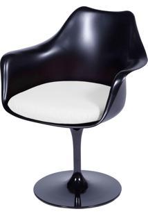 Poltrona Saarinen Com Braço Com Almofada Or Design Preto