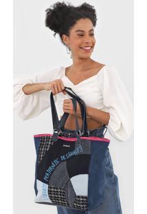 Bolsa Sacola Desigual Jeans Recortes Azul - Azul - Feminino - Dafiti