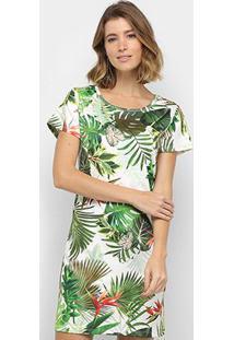 Vestido Royallove Curto Reto Tropical - Feminino-Branco