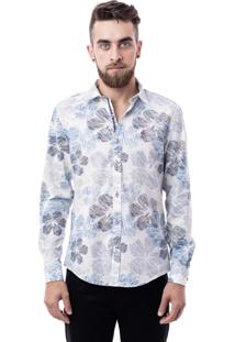 Camisa Porto & Co Manga Longa Slim Fit Estampada