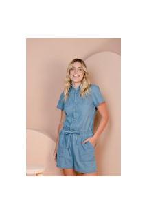 Macacão Curto Sisal Jeans Acinturado Azul