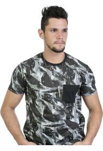 Camiseta Camuflada Com Bolso - Masculino