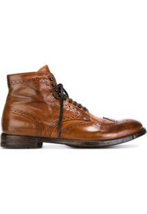 Officine Creative Ankle Boot Com Cadarço De Couro - Marrom