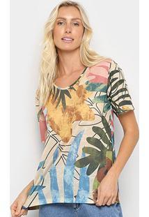 Camiseta Cantão Boyfriend Capri Feminina - Feminino-Bege+Verde