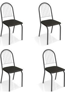 Conjunto Com 4 Cadeiras De Cozinha Noruega Preto