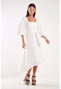 Vestido Sacada Linho Dec Quadrado Feminino - Feminino-Off White