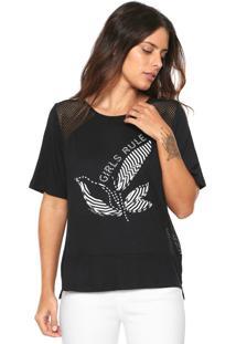 Camiseta Morena Rosa Recortes Preta