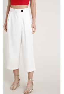 Calça Feminina Pantacourt Com Botão Deslocado Off White