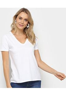 Blusa Calvin Klein Corte Em V Logo Feminina - Feminino-Branco