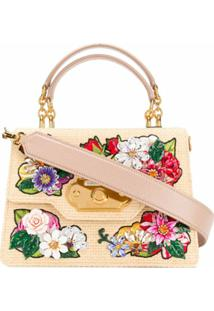 Dolce & Gabbana Bolsa Tote Welcome Com Bordado Floral - Neutro