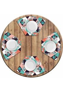 Jogo Americano Love Decor Para Mesa Redonda Wevans Flamant Abstract Kit Com 4 Pçs