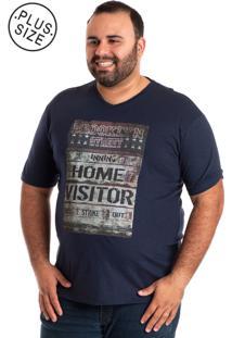 Camiseta Plus Size Konciny Decote V 115250 Azul Marinho
