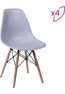 Jogo De Cadeiras Eames Dkr- Cinza & Bege- 4Pã§S- Or Design