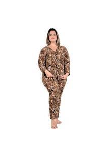 Pijama De Frio Feminino Plus Size Longo Inverno 56 58 60 Onça Marrom